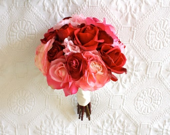 Roses, Ranunculus, Peonies Wedding Bouquet in LIght Pink, Hot Pink, Fuchsia, Red (Real Touch and Artificial Silk Flowers Bouquet)