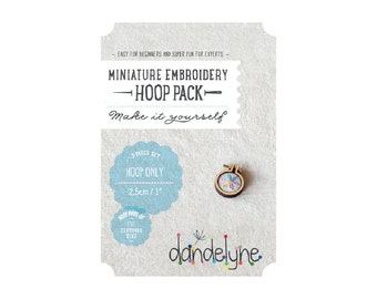 """1""""/2.5cm teeny tiny embroidery hoop ***NEW*** - 3 piece set (hoop, centre and backing) - unique Dandelyne miniature embroidery hoop"""