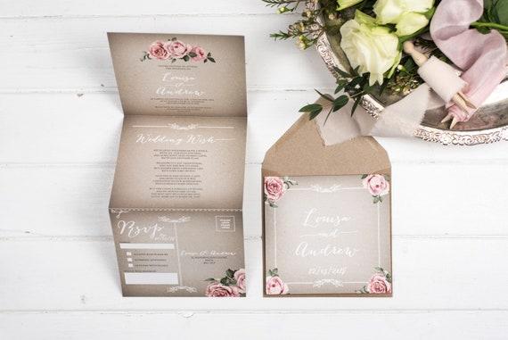 Vintage Wedding Invitation - Double-Folded Grey Floral Framed (portrait)