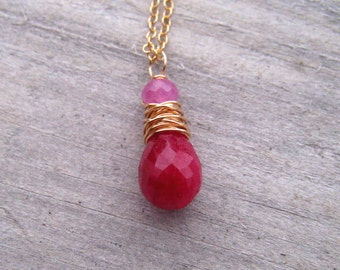 14K Gold Filled Ruby and Pink Sapphire Necklace,  Wire Wrapped Ruby Pendant,  July Birthstone Jewelry,  Pink Sapphire,  Ruby Jewelry