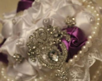 Wedding  flowers bouquet brides  brooches white red  crystal