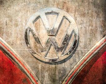 VW Bus Art, Retro Automobile Wall Art, Vintage Car, Volkswagen, Volkswagen Emblem, Car Photography, Fine Art Photography