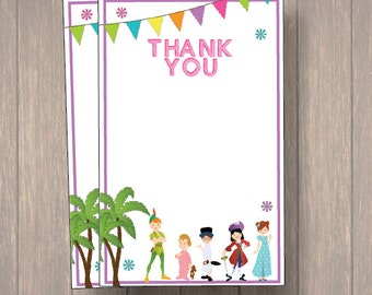 Peter Pan/ Neverland Thank you cards, Peter Pan Thank you notes, Birthday Thank you cards