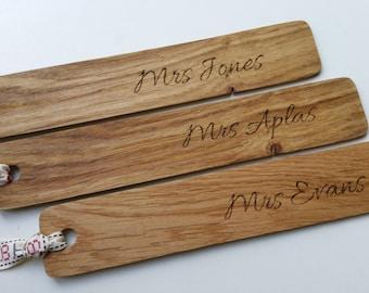 Personalised teachers gifts, personalised wood bookmark, personalized bookmark, teacher appreciation week, day, back to school