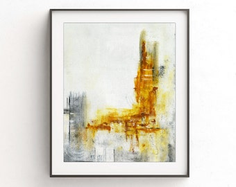 Instant download printable art abstract print raw art print yellow white painting wall decor modern print design artwork home decor gallery