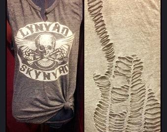 Cut up T-shirt slashed tee band shirt shredded Lynard Skynard guitar cut out top cutup tshirt fender cowboy