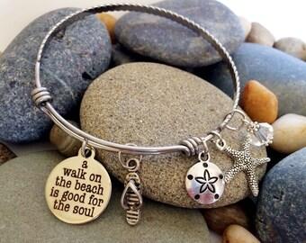 Beach bracelet, Expandable Bracelet, Beach themed Bangle Bracelet, Stacking Adjustable bracelet, ocean charm bracelet, beach charm bracelet
