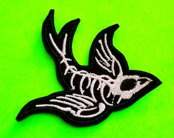 Swallow Skeleton Dead Bird Goth Punk Psychobilly Black and White Embroidered Iron or Sew On Patch