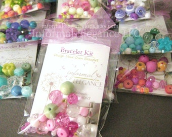 SALE: 10 Girls DIY Bracelet Kits in clear cello packaging, Great as Party Favors or Stocking Stuffers