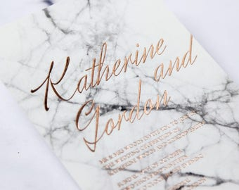 Digitally Printed Marble Wedding Invitation, Rose Gold Foiled - IWF16115-KI-RG