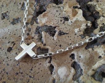 Silver Cross Necklace - Small Silver Cross 925 - little cross - sterling silver cross chain - cross pendant handmade