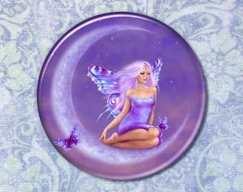 Fantasy Art Lavender Moon Fairy Pocket Mirror