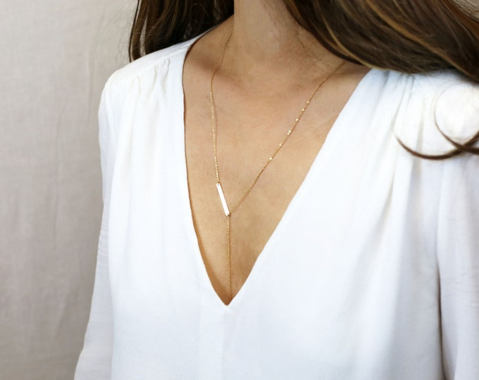 Bar Lariat / Minimal Y Necklace in Gold filled and Sterling Silver / Minimal and Stylish Long Lariat Y Necklace / Perfect Gift for Her EL027