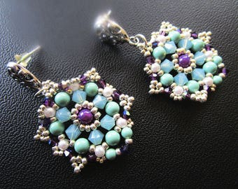 Woven earrings turquoise, ivory, Amethyst, rock crystal beads silver