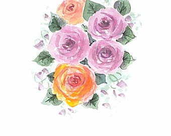 Original watercolor greeting card. Roses. Can be personalized. Not a print.