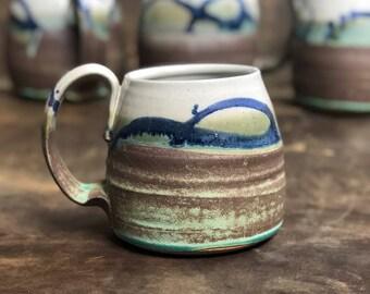 Handmade Mug | Stoneware Pottery Mug | Wheel Thrown Pottery | Brown and Green Mug | Large Mug