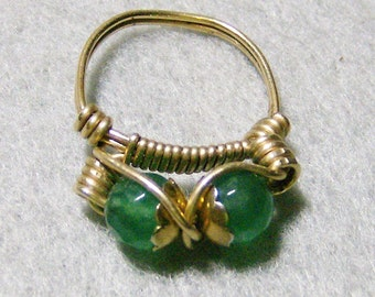 Wire Wrapped Ring - Beautiful Genuine Emeralds in 14k Gold Filled Ring, Size 5 by JewelryArtistry - R412