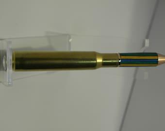 Hand Turned mini 30 Cal shell casing twist pen