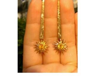 gold sun earrings, star gold earrings, citrine earrings, gold citrine earrings, sun earrings,  gold dangle earrings, gold drop earrings