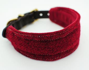Harris Tweed and Bridle Leather Wide Collar - Deep Red - greyhound collar whippet collar, sighthound collar, hound collar,