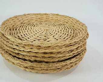 "Paper Plate Holders, Picnic Decor, Picnic Bamboo Plate Holders,  8 Wicker Basket Plate Supports, Vintage Picnic, 10 1/8"" Free Ship"