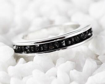 Gold Wedding Band White Gold Band Wedding Band Gold Diamond Ring White Gold Ring Black Diamond Ring Rough Diamond Ring Uncut Diamond Band
