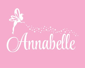 Fairy Wall Decal, nursery wall decal, girl name, vinyl letters, fairy, baby girl name decal, star stickers with fairy and girl name, fairy