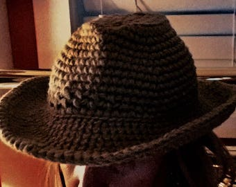 Crocheted cowgirl hat