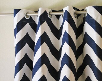 "Pair 25 "" wide navy blue and white BIG zippy chevron curtain panels drapes curtains zig zag 25x63 25x84"" 25x96"" or 25x108""- can add grommets"