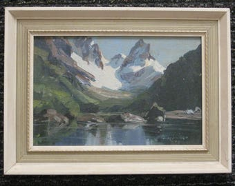 """Harry Smith Original  Impressionist Oil Painting Listed New Zealand Artist """" Lake Harris Routeburn Track NZ"""""""