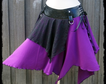 Black and Purple Gothic Tribal Over Skirt, Size Large - Ready to Ship - Festival Fae Faery Cosplay Evil Queen Lace