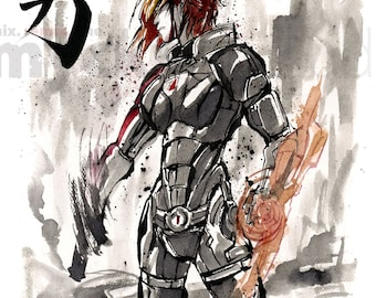 8x10 PRINT Mass Effect Female Commander Shepard Japanese Calligraphy COURAGE