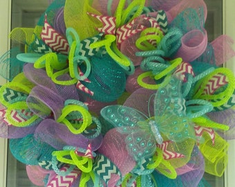 Curly butterfly spring wreath