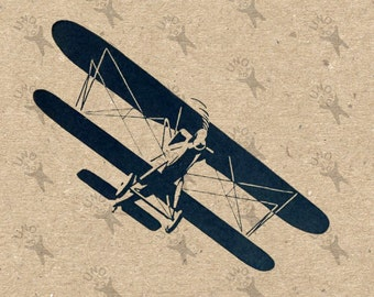 Digital printable vintage Airplane Instant Download clipart  graphic for transfers, scrapbooking, decor, prints, etc HQ 300dpi