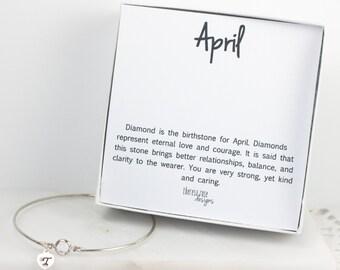 Personalized April Birthstone Swarovski Silver Bracelet, Crystal Sterling Silver Bracelet, April Birthday, Personalized Bracelet