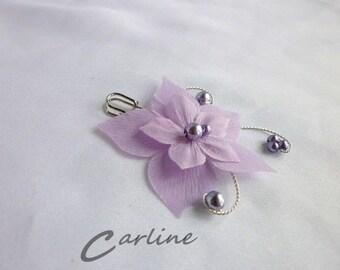Tie back behind purple wedding silk flower brooch