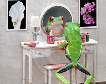 Powder Room, Make up Table, Ladies Room Art, Frog Vanity
