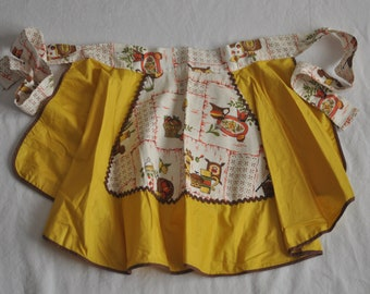 Vintage Handmade Hostess Apron--Mustard