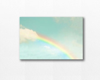 canvas art canvas nursery wall art large canvas art photography canvas rainbow print rainbow art nursery decor nature mint aqua pastel