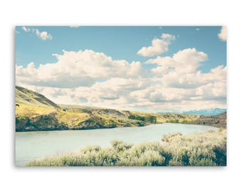 """large canvas wall art, large art, large colorful landscape wall art, landscape on canvas, large art on canvas - """"A Bend in the Yellowstone"""""""