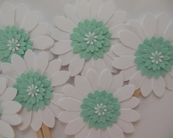 Flower Cupcake Toppers - Mint Green and White Daisies - Birthday Party Decorations - Gender Neutral Baby Showers - Bridal Showers