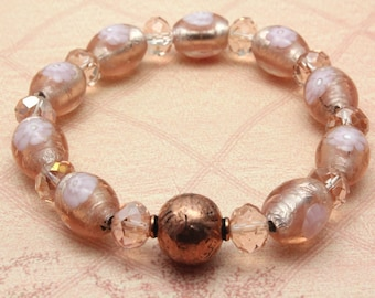 Italian Millefiori Glass Bracelet, Pink Bracelet, Stretch Bracelet, Peach Bracelet, Artisan Glass Beads, Copper, Pink Glass and Crystals
