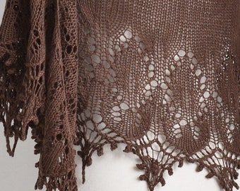 Lace knitted shawl, brown,  R631