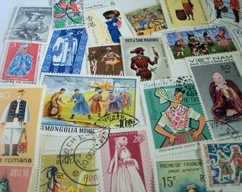 25 Postage Stamps of Costumes, Vintage Stamps, Postage stamps, Costumes,