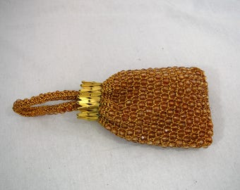 Vintage 1950s Princess Charming by Atlas gold beaded evening bag