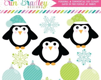 80% OFF SALE Holiday Clipart, Penguin Clip Art Graphics, Ornaments Clipart, Winter Snowflakes Clip Art in Green & Blue