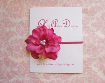 Hot pink flower with pearl center headband/ newborn headband/ baby headband