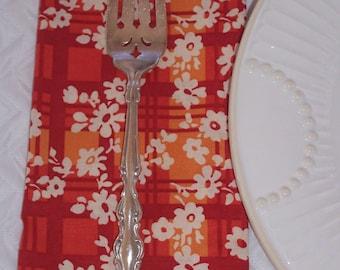 Luncheon Napkins, Fall Orange Plaid Napkins, Autumn Pretty Flowers, Fabric Lunch Napkins