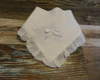 White Lace Baby Bib Personalize FREE New Born
