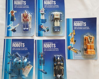Vintage Convertible Robots; Unpunched! 1980s Mini Transformers